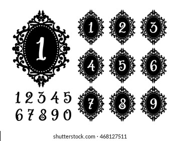 Modern Laser cutting numbers template for the festive table. Lacy frame for weddings, save the date, birthday party, baby shower. Templates for cutting paper, acrylic, wood and vinyl.