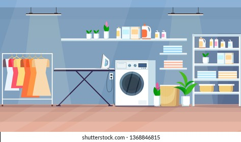modern laundry room interior with washing machine wooden shelves hanger ironing board horizontal flat