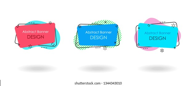 Modern layered banner sricker set, flat geometric style. For use in brochure covers, mobile app interface