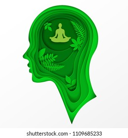 Modern layered cut out colored paper human profile with man sitting in calm lotus pose and tropic palm leaves. Concept of relaxation, tranquility and mental health. Deep paper art origami style