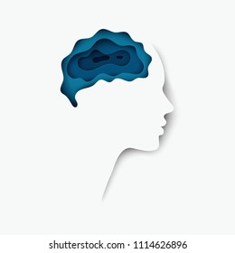 Modern layered cut out colored paper human profile with brain brain. Creative thinking, business concept of innovation. Deep paper art origami style. Isolaterd on white
