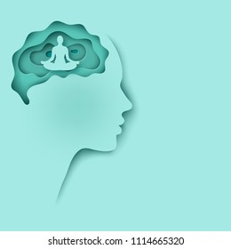 Modern layered cut out colored paper human profile with brain and man sitting in calm lotus pose. Concept of relaxation, tranquility and mental health. Deep paper art origami style in pastel colors
