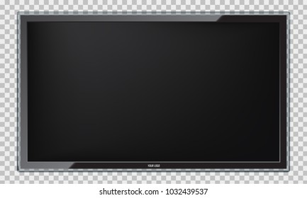 Modern Led TV screen with realistic reflection. Isolated vector.