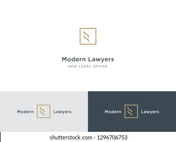 Modern legal office logo. Prestige lawyer, solicitor, barrister