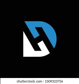 modern letter dh for tecnology logo vector download