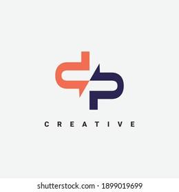 modern letter DP logo design template