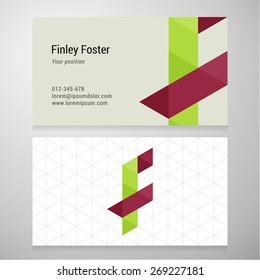 Modern letter F origami Business card template. Vector design. Layered, editable.