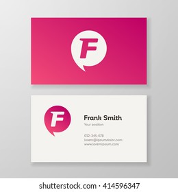 Modern letter F in speech bubble Business card template. Vector visiting card design. Layered, editable.