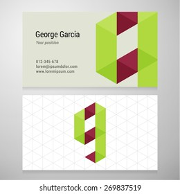 Modern letter G origami Business card template. Vector design. Layered, editable.