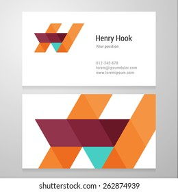 Modern letter H Business card template. Vector design. Layered, editable.
