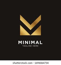 Modern Letter M line logo gold design. Creative minimal monochrome monogram symbol. Premium business logotype. Graphic alphabet symbol for corporate business identity.