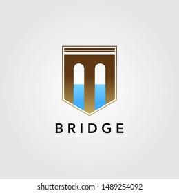 modern letter m shield guard bridge logo vector icon illustration design