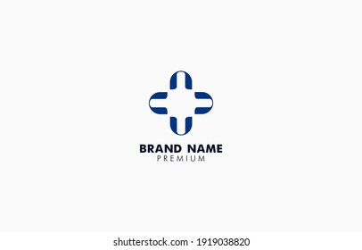 Modern Letter N or U Cross Medical Logo Vector Template suitable for medic business brand