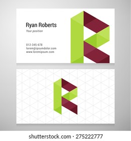 Modern letter R origami Business card template. Vector design. Layered, editable.