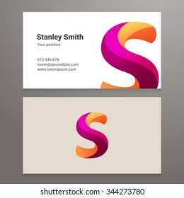 Modern letter s twisted colorful Business card template. Vector design. Layered, editable.