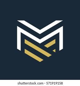 Modern letter VM MV M logo.