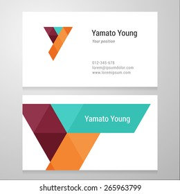 Modern letter Y Business card template. Vector design. Layered, editable.