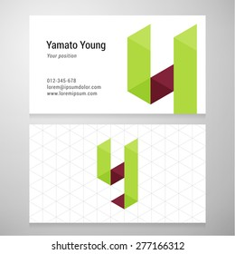 Modern letter Y origami Business card template. Vector design. Layered, editable.