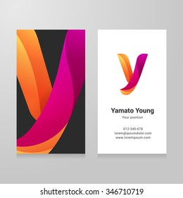 Modern letter y twisted colorful Business card template. Vector design. Layered, editable.