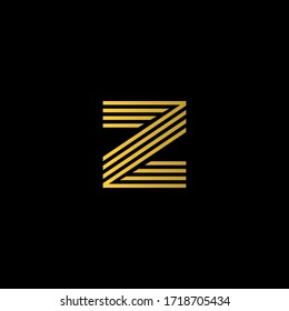 Modern Letter Z Logo Stripes Effect Abstract Typhography Monogram in Gold Color.