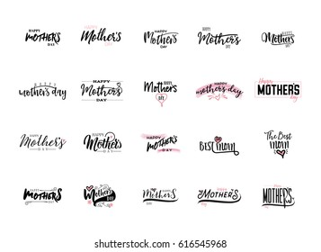Modern lettering and calligraphy - Mother's day theme in different designs.