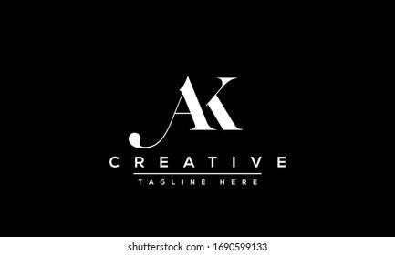 Modern letters AK, A&K Logo Design Template Vector KA monogram.