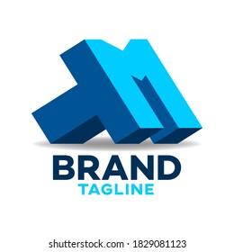 Modern letters TM or MT logo.Vector illustration.