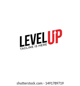 Modern Level Up Typography Logo design inspiration
