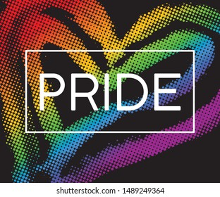 Modern LGBT pride flag in vector format. Heart in LGBT colors. Rainbow heart with word PRIDE for poster. LGBTQ love symbol background. Concept design