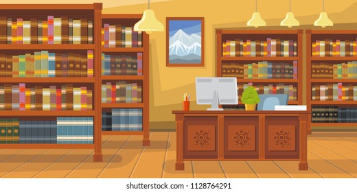 Modern library with bookshelf vector illustration. Librarians desk with desktop computer. Interior illustration