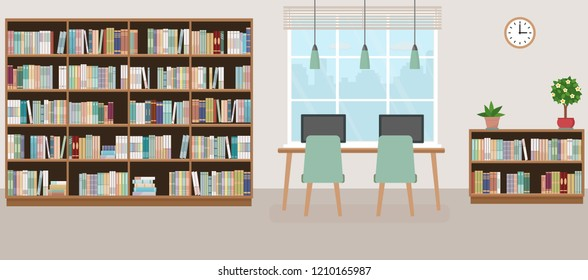 Modern library empty interior with bookcase, table, chairs and computers. Vector illustration.