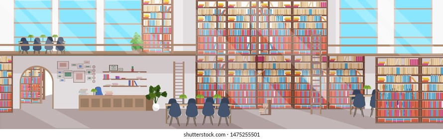 modern library interior empty no people. Bookstore with bookshelves. Reception with round table and chairs. Flat horizontal banner