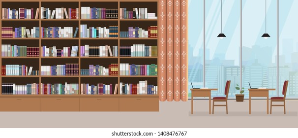 Modern library interior with grand bookshelf and large window with cityscape on background. Vector illustration.
