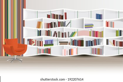 Modern library room with books