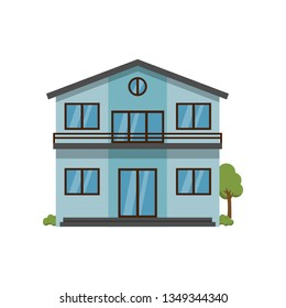 Modern light blue two-story house with balcony trough second floor isolated on white background