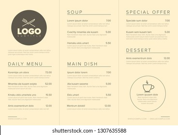 Modern light brown minimalistic restaurant menu template with three columns design layout and nice typography