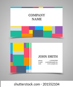 Modern light business card template with color squares.