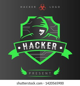 Modern light green hacker logo with wings icon on bottom logo. This logo use dark background, you can use this logo for your club.