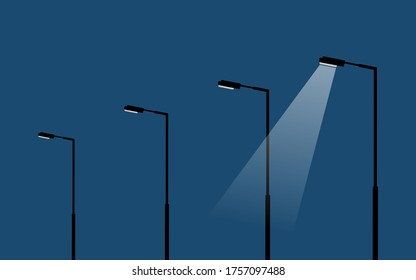 modern light poles/lamp stands on dark blue sky background, street lamps with the light spots, vector illustration, only one spot is lighting