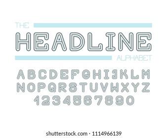 Modern line alphabet. Hipster abstract vector font.