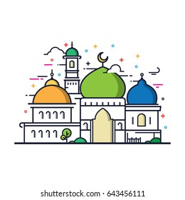 Modern line art Islamic Mosque building. White background, Modern Mosque icon illustration.
