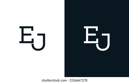 Modern line art letter EJ logo. This logo icon incorporate with two letter E and J in the creative way.