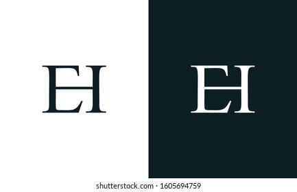 Modern line art minimalist letter EH logo. This logo icon incorporate with letter E and H in the creative way.