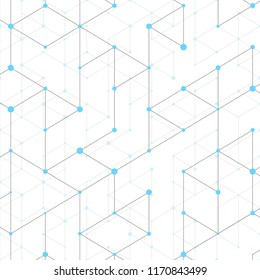 Modern line art pattern with connecting lines on white background. Connection structure. Abstract geometric graphic background. Technology, digital network concept, vector illustration