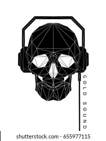 Modern line black polygonal flat hipster style illustration of human Skull with headphones, poster with text Gold sound. Halloween, dark spell t-shirt design.