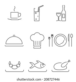 Modern Line Chef Restaurant Food Cuisine Icons and Symbols Set for Mobile Interface Isolated Vector Illustration
