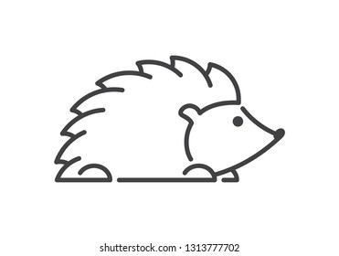 Modern line figure hedgehog. Vector outline hedgehog for web and design. Open path.