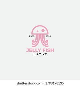 modern line flat jellyfish or sea jellies  logo design
