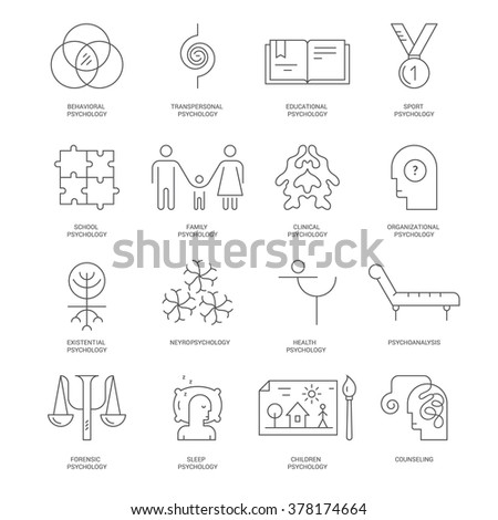 Modern Line Icons Different Types Psychological Stock Vector
