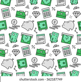 Modern line icons seamless pattern texture of finance service and banking objects, piggy bank deposit box, money savings. Flat design graphic, perfect for web background or print wrapping decoration.